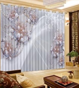 3D Curtain Top Classic 3D Style Diamond Pearl Curtain Silk Butterfly Flower Curtain Blackout Shade Window Curtains
