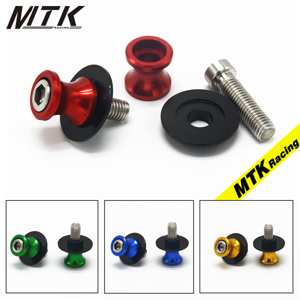 MTKRACING For Yamaha MT09 MT-09 R1 R3 R6 R25 R6S 6mm Motorcycle CNC Swingarm Sliders Spools Paddock Stand Bobbins Swing Arm 2pcs universal motorcycle stand screws cnc swingarm swing sliders spools m6 m8 m10 for yamaha r3 honda crf 450 suzuki gn250