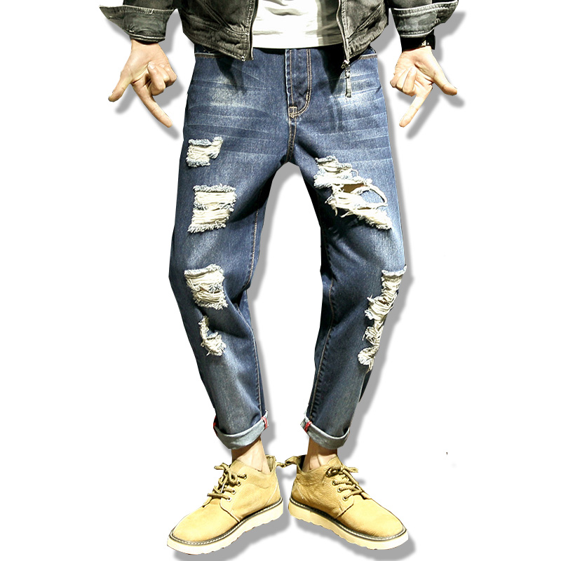 Men's jeans high quality Straight Hole jeans men Casual Slim Jeans Pants ripped jeans 2017 for men denim trousers jeans men slim straight ripped jeans male hole jean pants casual denim trousers high quality all match long men s biker jean 54