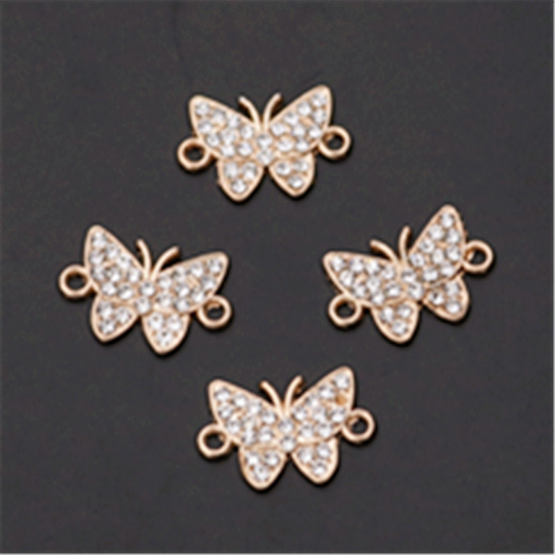 10Pcs Lace Rhinestone Alloy Charms Connectors for DIY Earring Jewelry Making