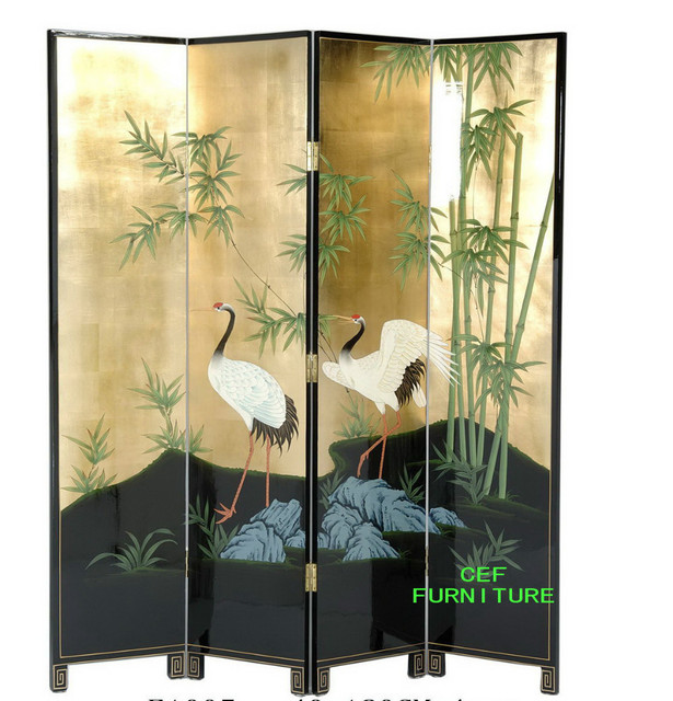 Bamboo crane screen room divider lacquer asia oriental gold antique