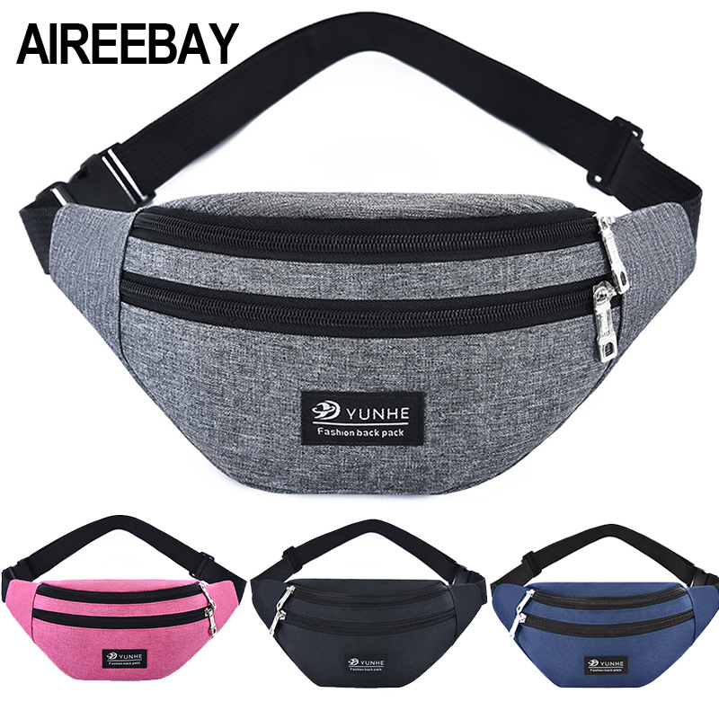 AIREEBAY Waist Bag Women Three Zipper Pocket Fashion Men Chest Handbag Unisex Fanny Pack Ladies Pink Waist Pack Belly Bags Purse
