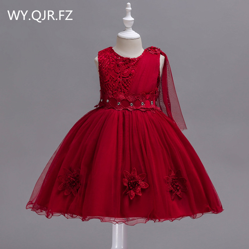 BH150J#Bow Lace Short Burgundy Flower Girl Dresses Children's performance dress wedding party dress gown prom wholesale clothes