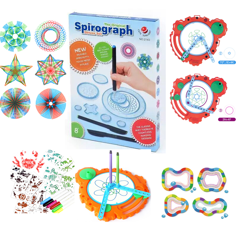 Children Spirograph Drawing Toys Set Accessory Spiral Design Interlocking Gear Doodle Kids Learning Education Gift