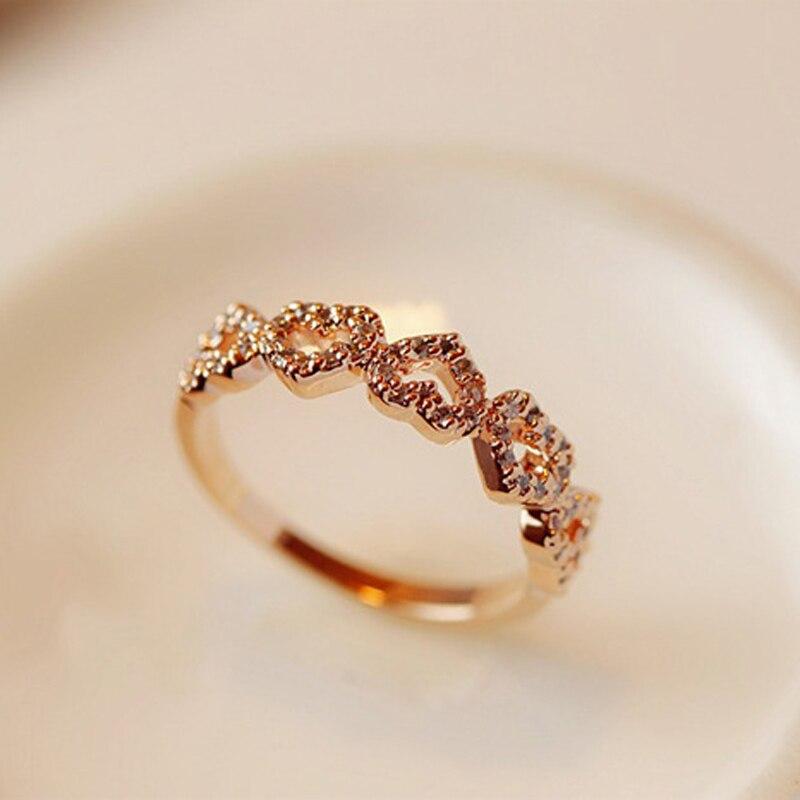 2019 Neue Super-schöne Liebe Herz Ring Für Frau Rose Gold Farbe Herz Geformt Hochzeit Ring Für Frau Liebe Finger Ring StraßEnpreis
