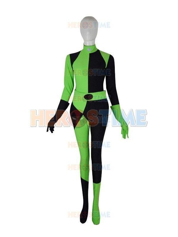 (SUP912)Kim Possible Shego Costume Female Super Villain Lycra Spandex Zentai Superhero Cosplay Halloween Party Costumes Zentai