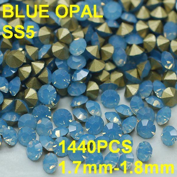SS5 1440pcs/lot 1.7mm-1.8mm Light Blue Crystal Opal Rhinestone Jewelry 3D Rhinestones Golden Pointback Wedding Party Decoration