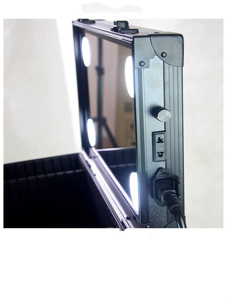 1 Avec Cas En Miroir Noir Multi Cosmétique Structure Plein 4 écran Beauté Sac Boîte Lumineux couche w51znqIF