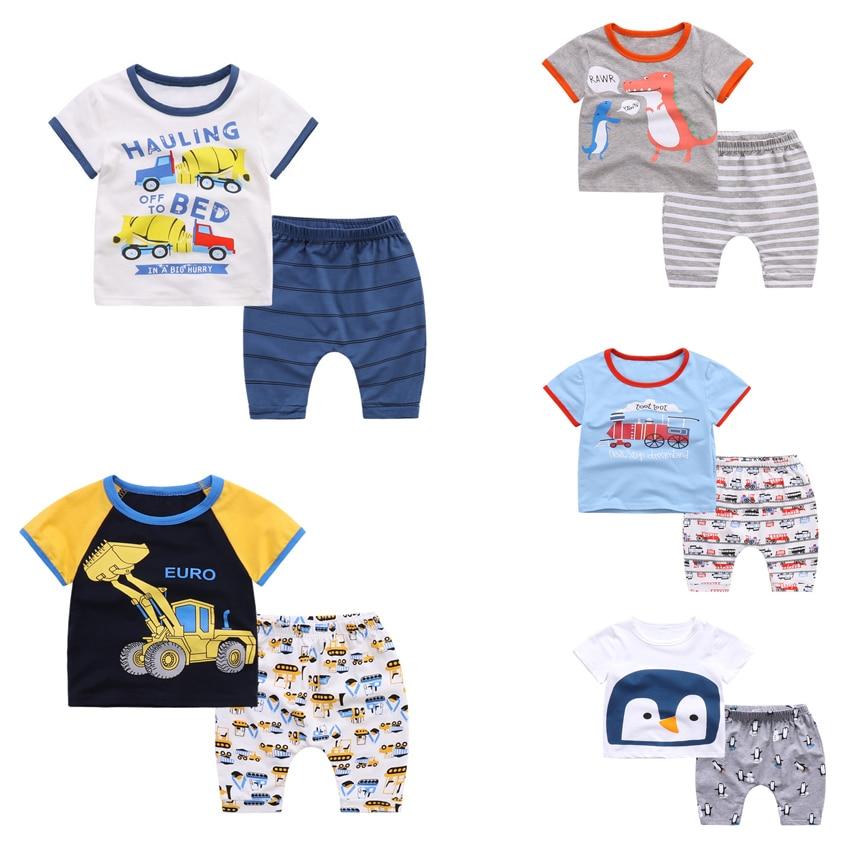 Buy 2017New Summer Rooter car dinosaur Children Clothing Set Cartoon Top T-shirt+Pants 2 pieces 100%Cotton Boy kid Clothes