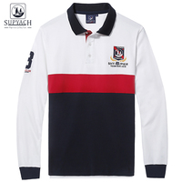 SUPYACH Man S Boutique Embroidery 100 Cotton Long Sleeve Casual Brand Polo Shirt Color Splicing Fashion