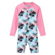 BAOHULU Print Long Sleeve UV50+ Swimwear for Little&Big Girl 4-11Y Kids Children Girls One Piece Swimsuit Beach Bathing Suits