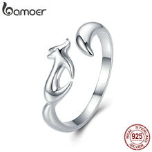 BAMOER 925 Sterling Silver Animal Fox Adjustable Finger Rings for Women Open Size Fox Tail Ring Sterling Silver Jewelry SCR478(China)