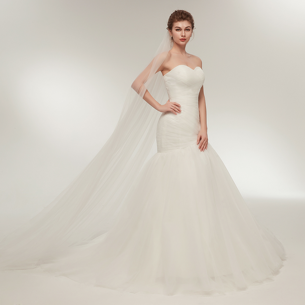Wedding Gown Necklines: Fashion Ruffled Tulle Mermaid Wedding Dresses Sweetheart