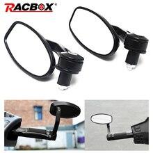 Racbox 2Pcs Universal Motorcycle Bike Bar Black End Rearview Mirrors 7/8 for cb500x msx125 Street bikes Sports