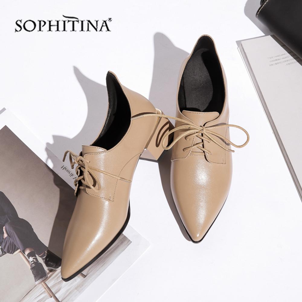 SOPHITINA Pointed Toe Casual Pumps Med Square Heel High Quality Genuine Leather Lace up Shoes Hot