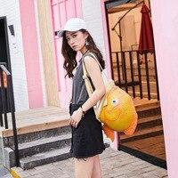 New pu women's backpack gold cute fun fish bag cartoon mini female bag creative animal backpack