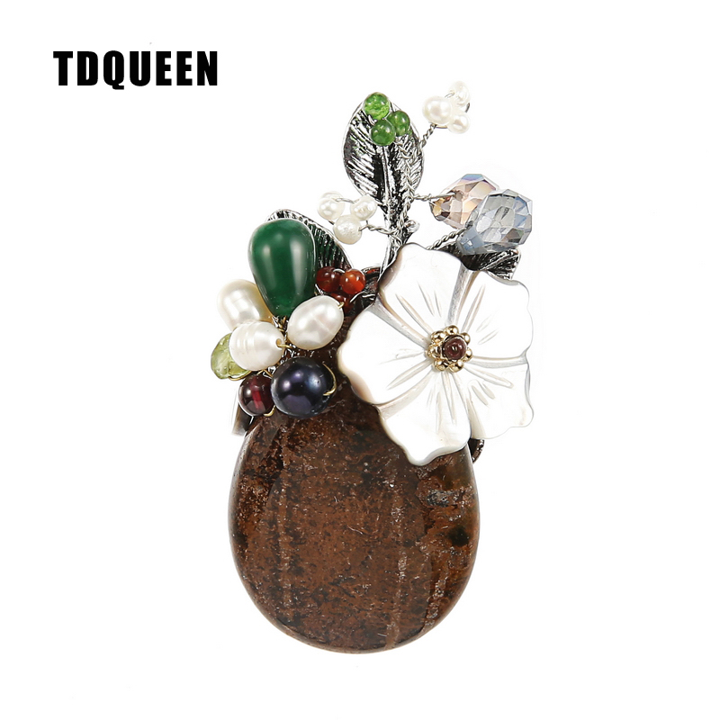 TDQUEEN Brooches Natural Stone Women Brooch Silver Plated Safety Pin Jewelry Freshwater Pearls Shell Flower Brooch