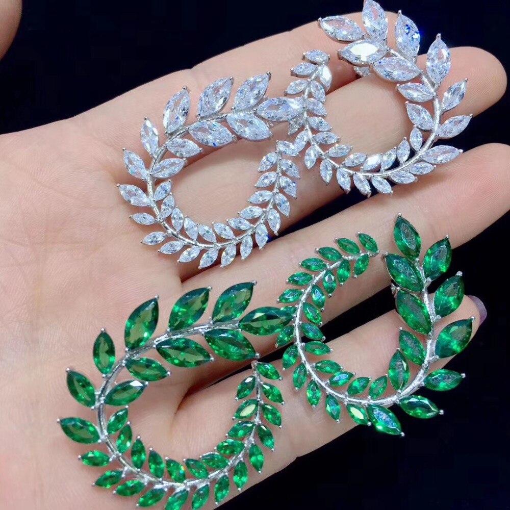 Plante 925 argent sterling avec zircon cubique feuilles de palmier boucle d'oreille le même style que l'actrice blanc vert couleur bijoux de mode