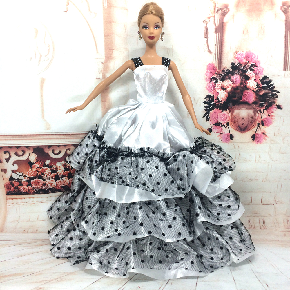 NK One Pcs Handmade Princess Wedding Dress Noble Party Gown For Barbie Doll Fashion Design Outfit Best Gift For Girl Doll 054D