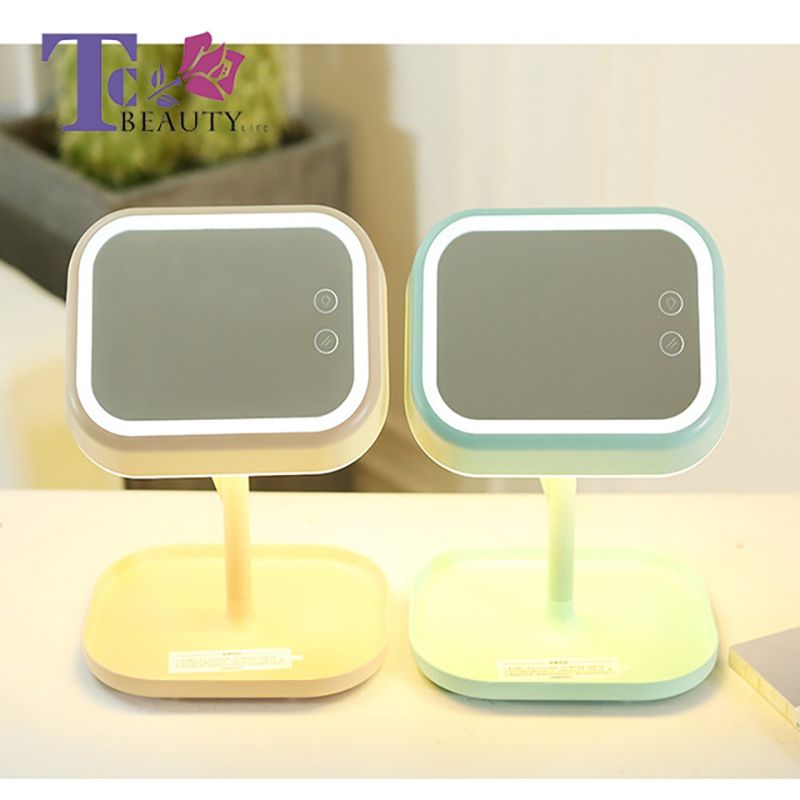 Makeup Mirror Desktop With Light LED 180 Rotation Usb Charging Four Function Table For Touch Screen Vanity Lamp With Storage 3 in 1 led makeup mirror with table lamp for bedroom decor table storage cosmetic mirror usb charging rotation white pink color