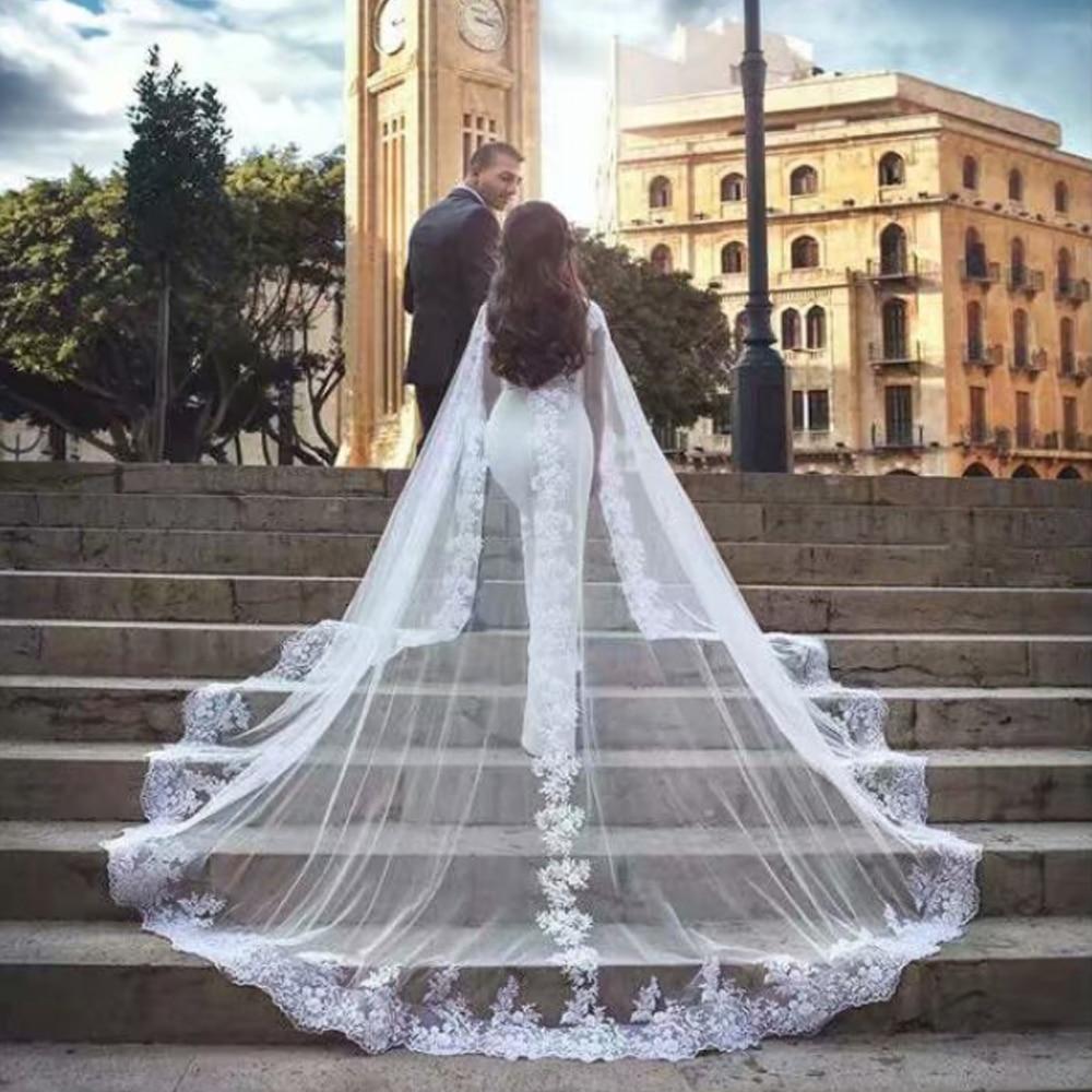 Appliques blanches robes de mariée Cape robes de mariée longue Cape été élégant Tulle de mariage femmes formelle boléro enveloppe de mariée