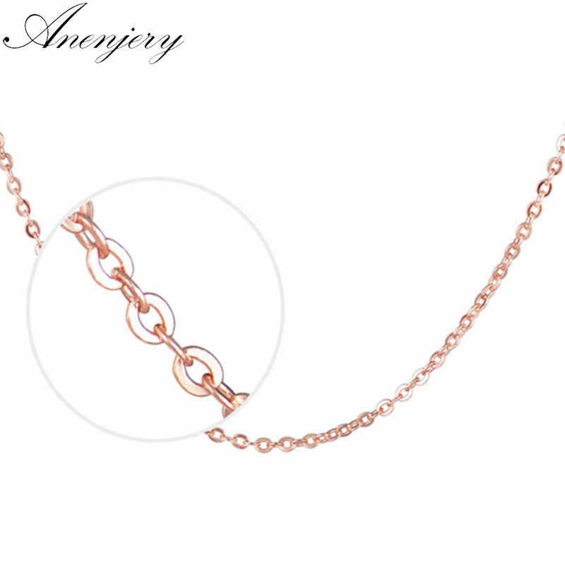 """Anenjery 925 เงินสเตอร์ลิง """"O"""" Shape Rose Gold Link Chain สร้อยคอจี้สำหรับจี้ collares (เส้นผ่านศูนย์กลาง 1.5 มม.) s-N11"""