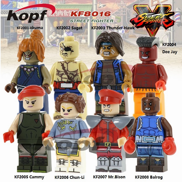 10Set KF8016 Street Fighter Akuma Sagat Tunder Hawk Dee Jay Cammy Chun-Li Balrog Mr. Bison Building Blocks Toys for children eesx472 sensor mr li