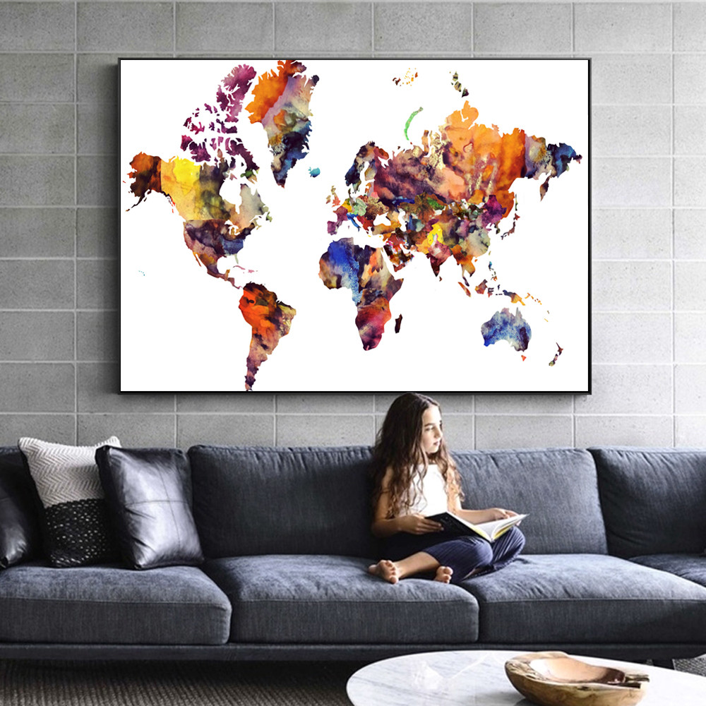 Hot sale vintage world map posters and prints abstract colorful vintage world map posters and prints abstract colorful world map wall art canvas pictures for living room cuadros decoration gumiabroncs Gallery