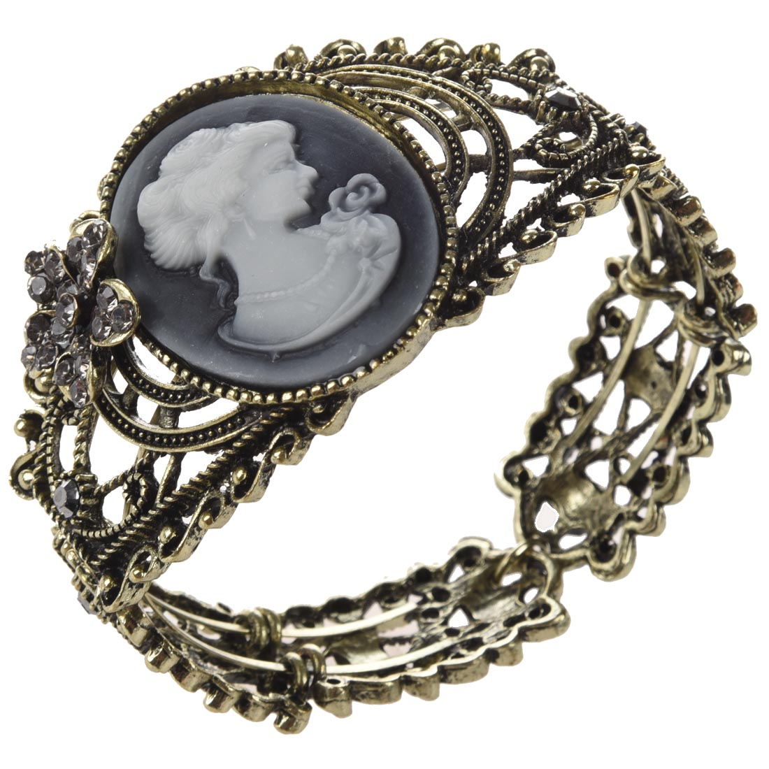Vintage Hollow Out Queen Statue Carving Bangle Cuff Cameo Bracelet