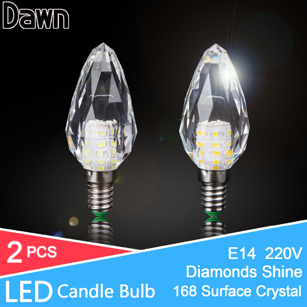 2pcs Korea 168 Surface Crystal LED Lamp Candle Bulb E14 7W 220V LED Light Bulb Cool Warm White Lampada Bombillas Ampoule Lampe