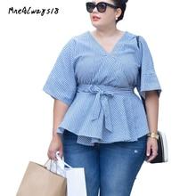 Mnealways18 Plus Size Női csíkos rövid ujjú pulóver póló 2018 Nyári ruha Női divat Streetwear tunika Tops Blúz