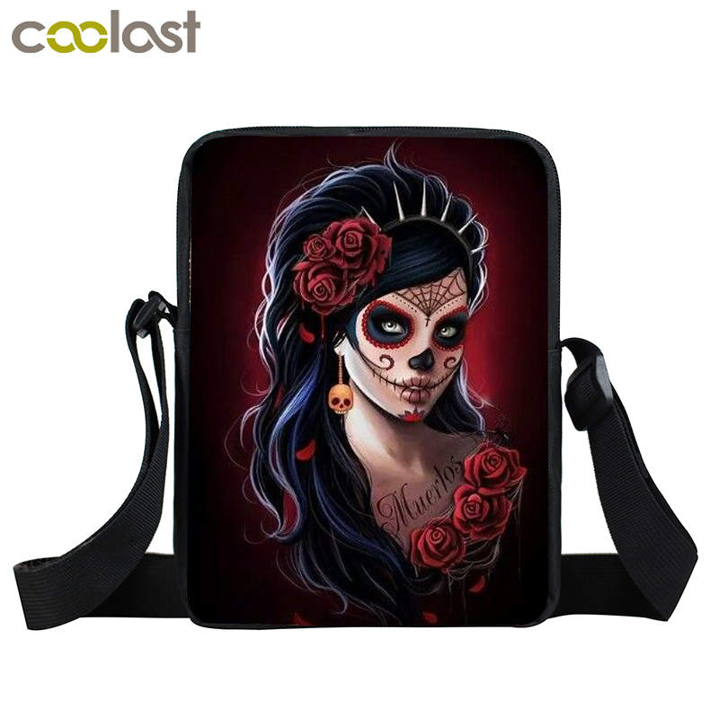 Cool Gothic Girl Mini Messenger Bag Rock Women Handbag Kids Crossbody Bag Skull Children School Bags Boys Girls Bags Best Gift minions ninja mini messenger bag children cute animal dog cat horse printing school bags boys kids book bag for snack best gift