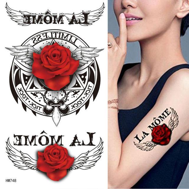 071 Caballo Rey Belleza Fresca Tatuaje Caliente 17x10 Cm Rosas Rojas Con Alas De ángel Y Inglés Palabras Falsas Temperatura Tatuajes En