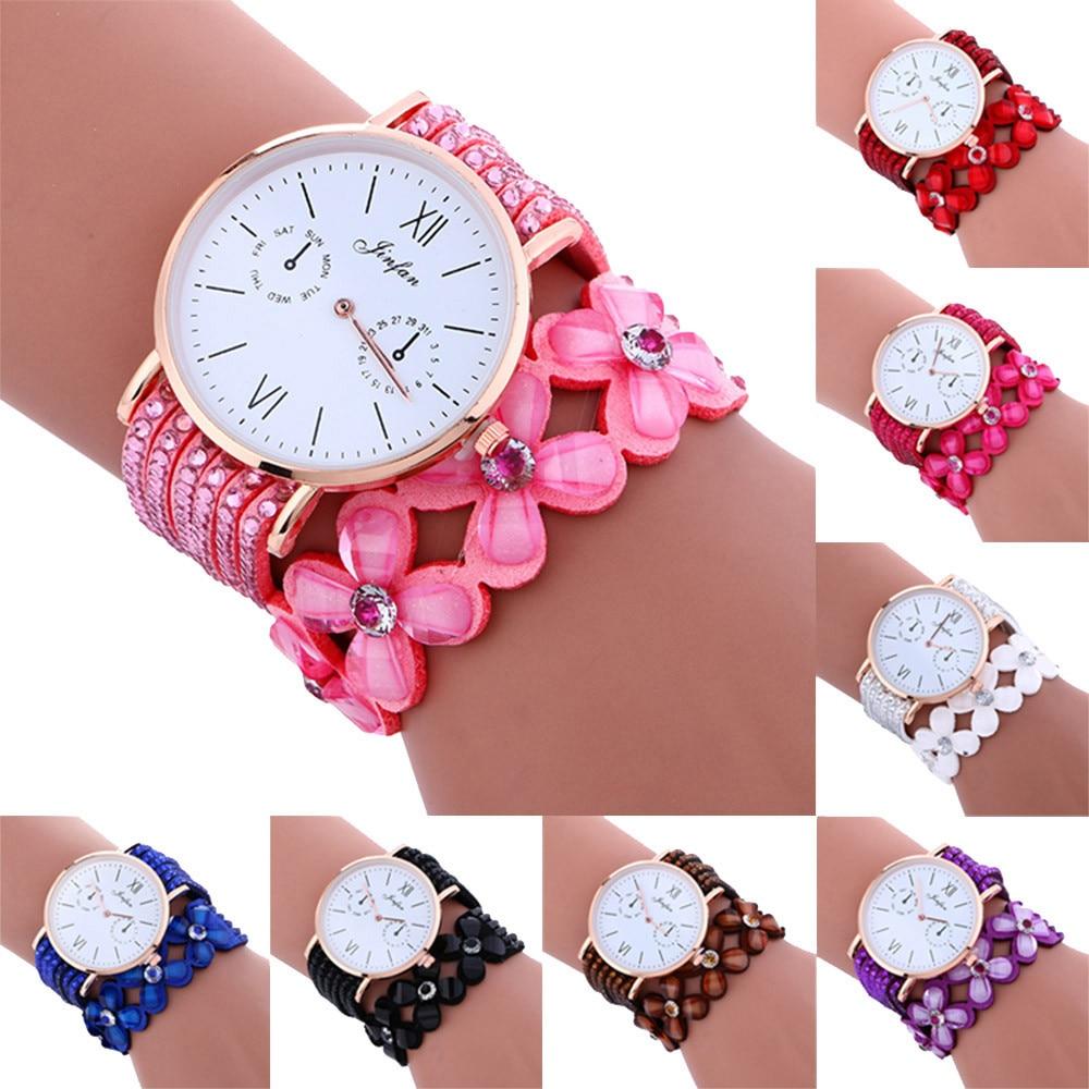 Fashion Large Dial Chimes Diamond Leather Bracelet La %