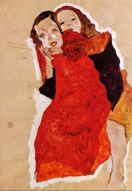 Nude Art Painting Two Girls Egon Schiele Oil Painting -5865