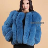 genuine luxury fox fur coat fashion color blue wine natural white pink big size hot 2018 winter Russia fluffy outwear jacket