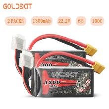 2 единицы GOLDBAT Lipo Батарея 1300 mAh 6 S lipo дроны Батарея 22,2 V 100C пакет с XT60 разъем для дроны Racing FPV шоссейные велосипеды