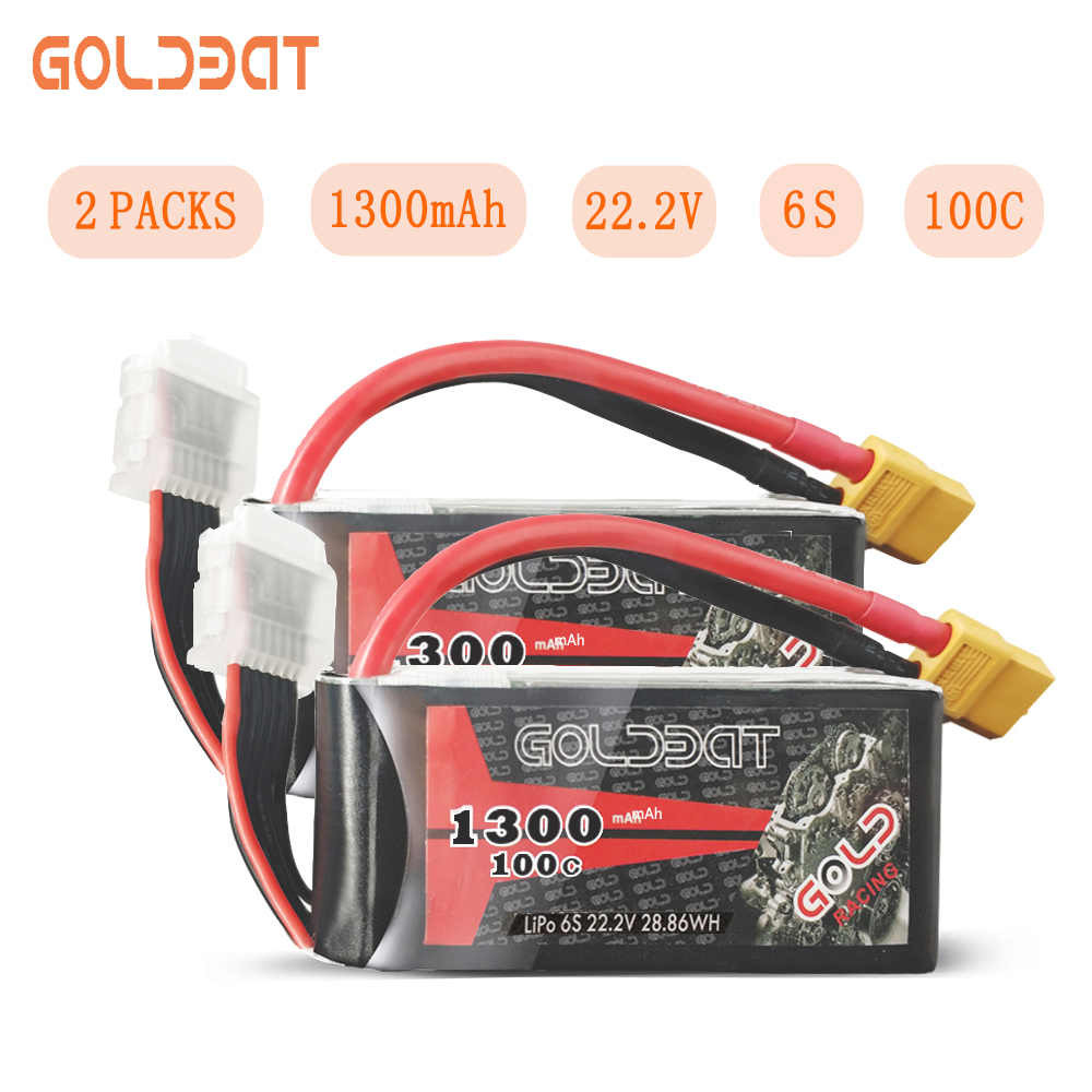 2UNITS GOLDBAT 1300mAh Lipo Battery for fpv 22.2V 6S Battery lipo for Drones fpv 100C Pack with XT60 Plug for Drones fpv Racing image