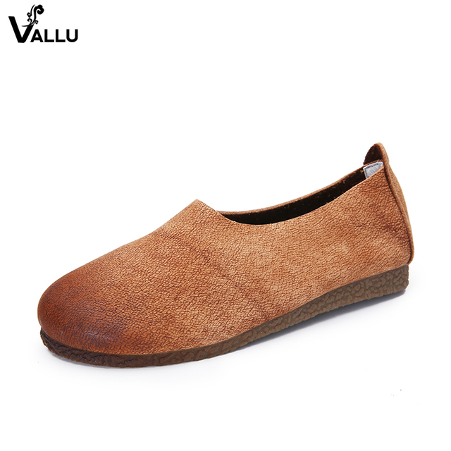 Comfort Slip-On Women' s Flat Shoes Handmade Genuine Leather Lady Casual Flats Round Toe Outdoor Vintage Female Shallow Shoes