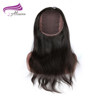 ALIMINA 360 Lace Frontal Closure With Wig Cap Straight Hair Brazilian Hair Remy Natural Color Free