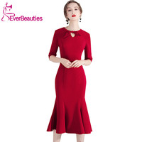 Vestidos Coctel Mujer Cocktail Dresses 2019 Wine Red Half Sleeves Homecoming Dresses Robe De Cocktail Prom Party Dresses