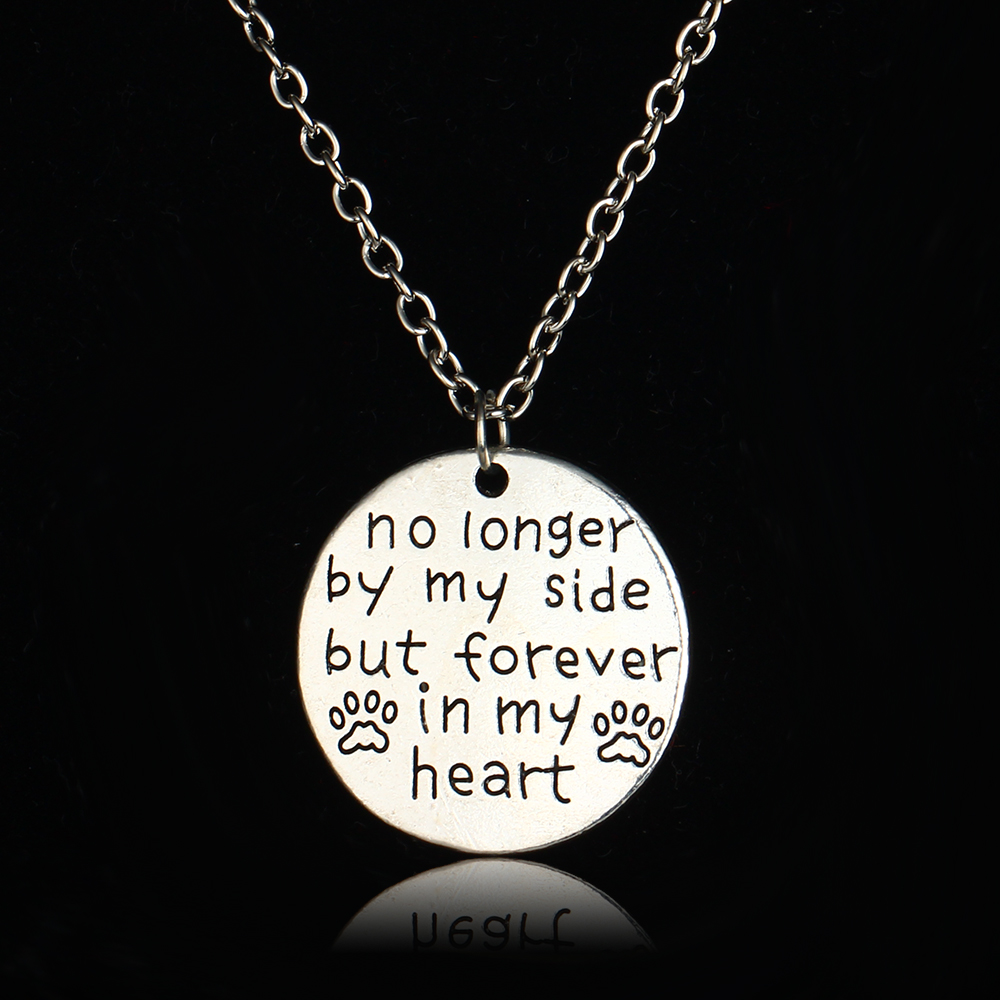Bespmosp no longer by my side but forever in my heart pendant bespmosp no longer by my side but forever in my heart pendant necklace dog tag pet paws lovers family charm chain jewelry gifts in pendant necklaces from aloadofball Gallery