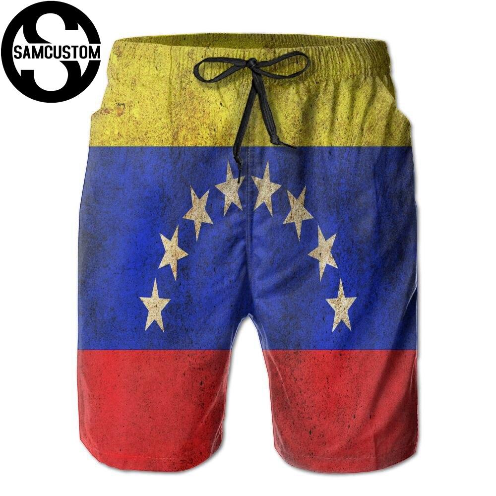 SAMCUSTOM mens perspiration quick dry ultra light breathable Leisure home   shorts   venezuela 3D printing beach   shorts