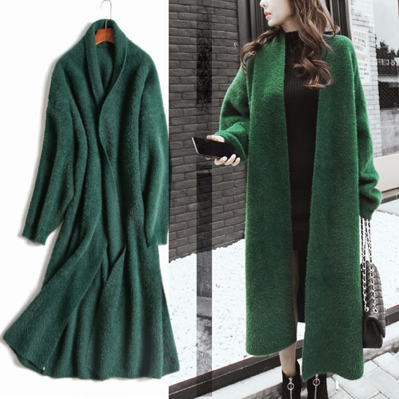 Синтетическая норка кашемировый свитер, кардиган женское корейское зимнее пальто рукав «летучая мышь» трикотажный длинный кардиган толстый плюс размер свитера