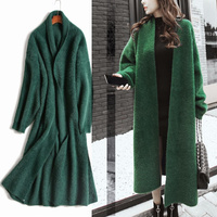 Mink Cashmere Sweater Cardigan Women Korean Winter Coat Batwing Sleeve Knitted Long Cardigan Thick Plus Size Knitted Sweaters