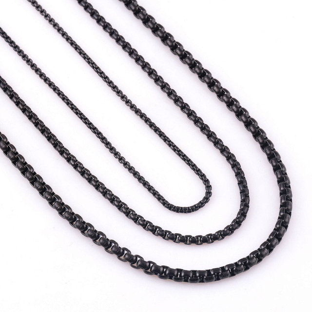 Customize Length 2/3/4/mm Width Stainless Steel Black Curb Cuban Chain Necklace