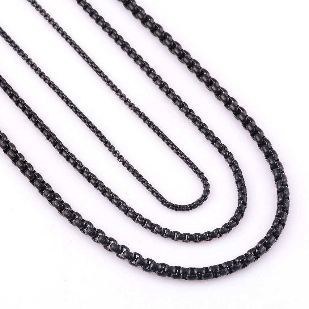Customize Length  mm Width Stainless Steel Black Curb Cuban Chain Necklace