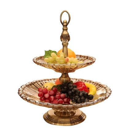 European glass double layer fruit plate modern creative model room decoration home soft decoration fashion fruit bowl fruit buck