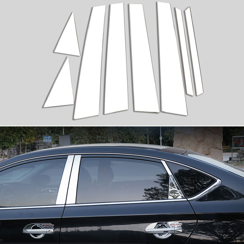 Fit:2013-2018 Nissan Sentra 8Pc Chrome Pillar Post Stainless Steel Trim Door