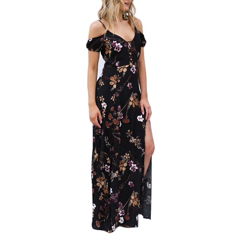60% clearance top-rated real 50-70%off US $16.96 5% OFF Women Dress 2018 Summer Cold Shoulder Maxi Sundress Boho  Floral Sexy Backless Strap Long Dress Evening Party Beach Vestidos-in ...